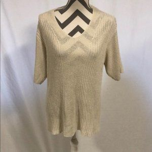 Orvis Silk Blend Cream Ribbed Short Sleeve Sweater